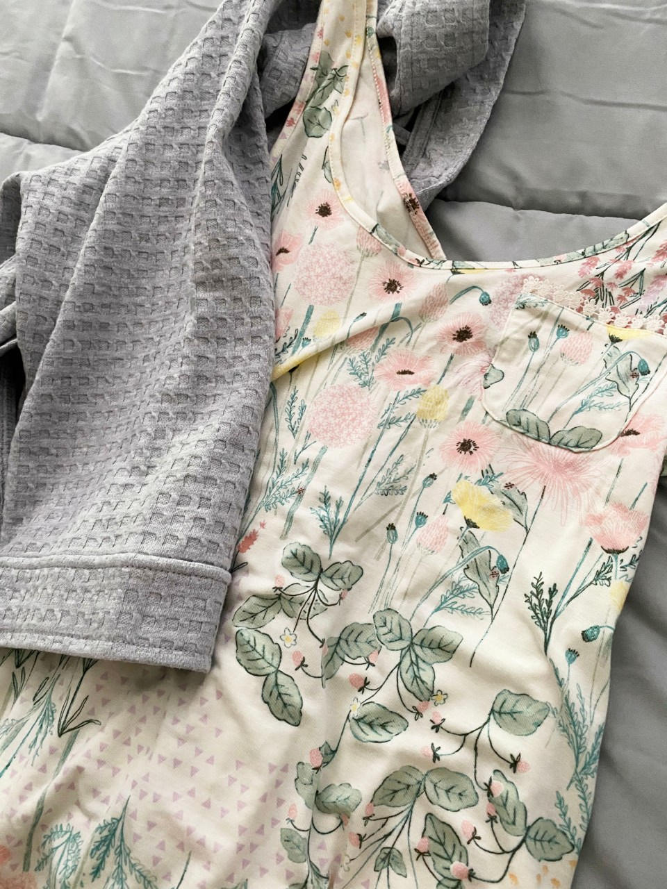 Floral Nightgown + Waffle Knit Robe 6