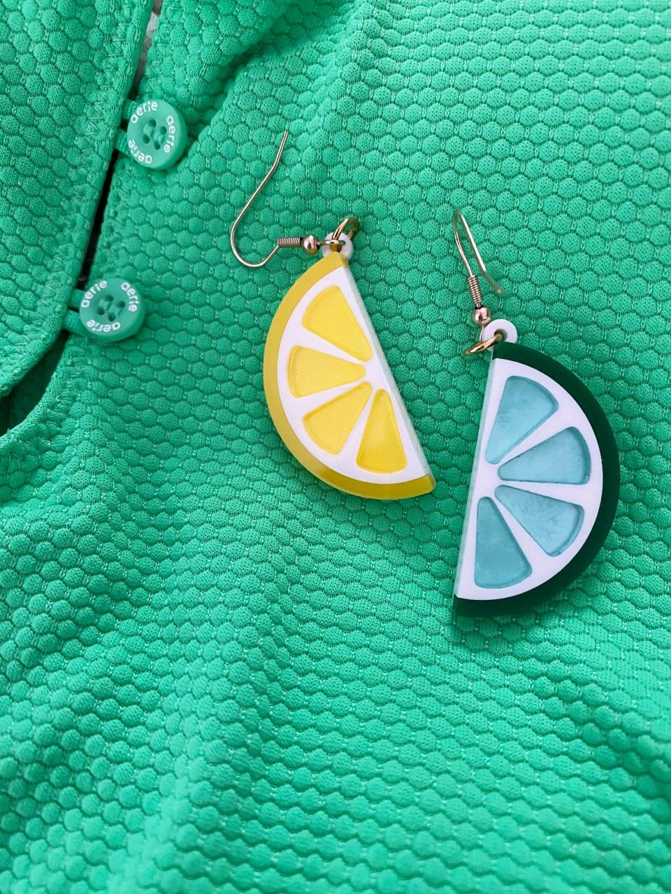 Lemon Lime Acrylic Earrings
