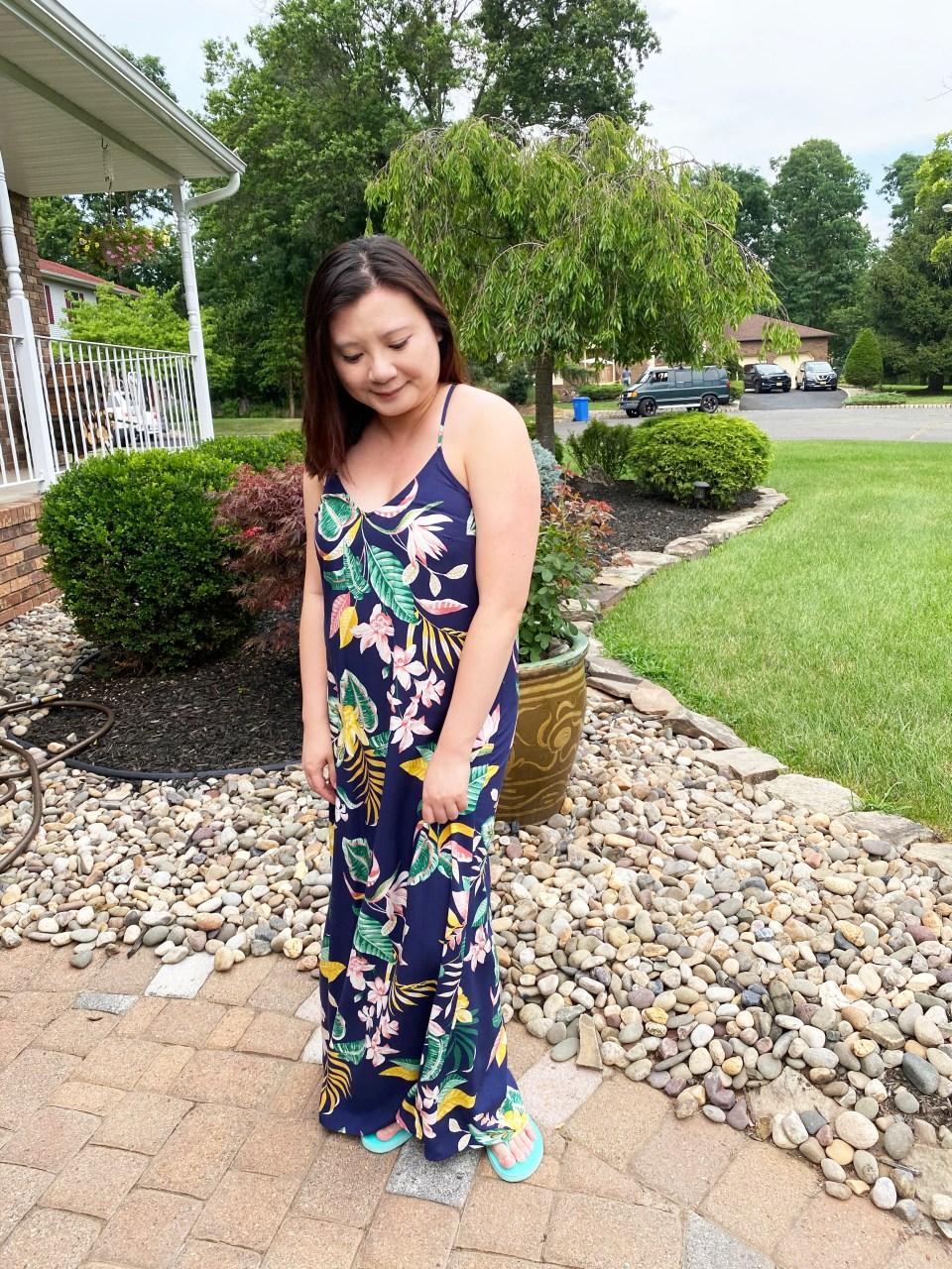 Navy Blue Botanical Maxi Dress 6