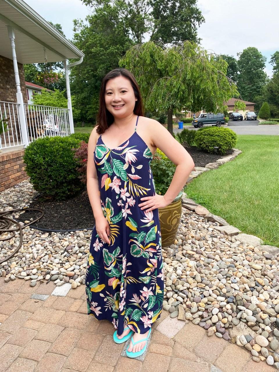 Navy Blue Botanical Maxi Dress 7