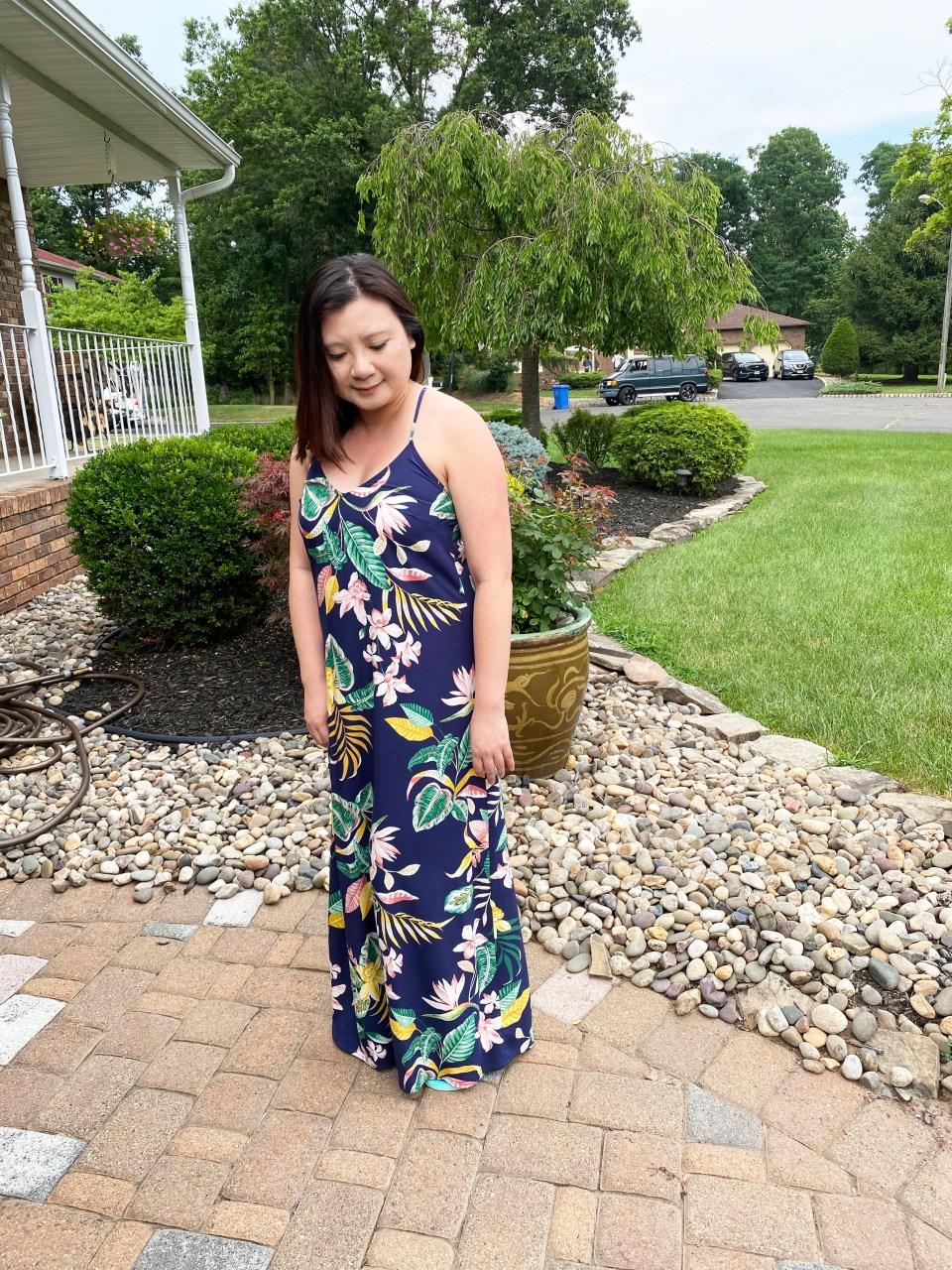 Navy Blue Botanical Maxi Dress