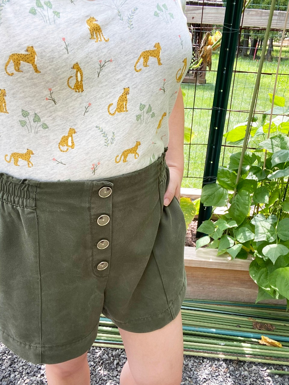 Leopard Tee + Olive Shorts 12