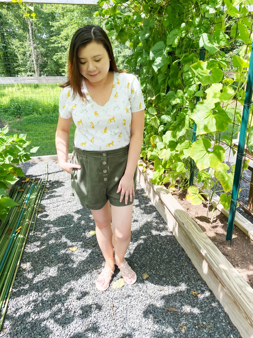 Leopard Tee + Olive Shorts 2