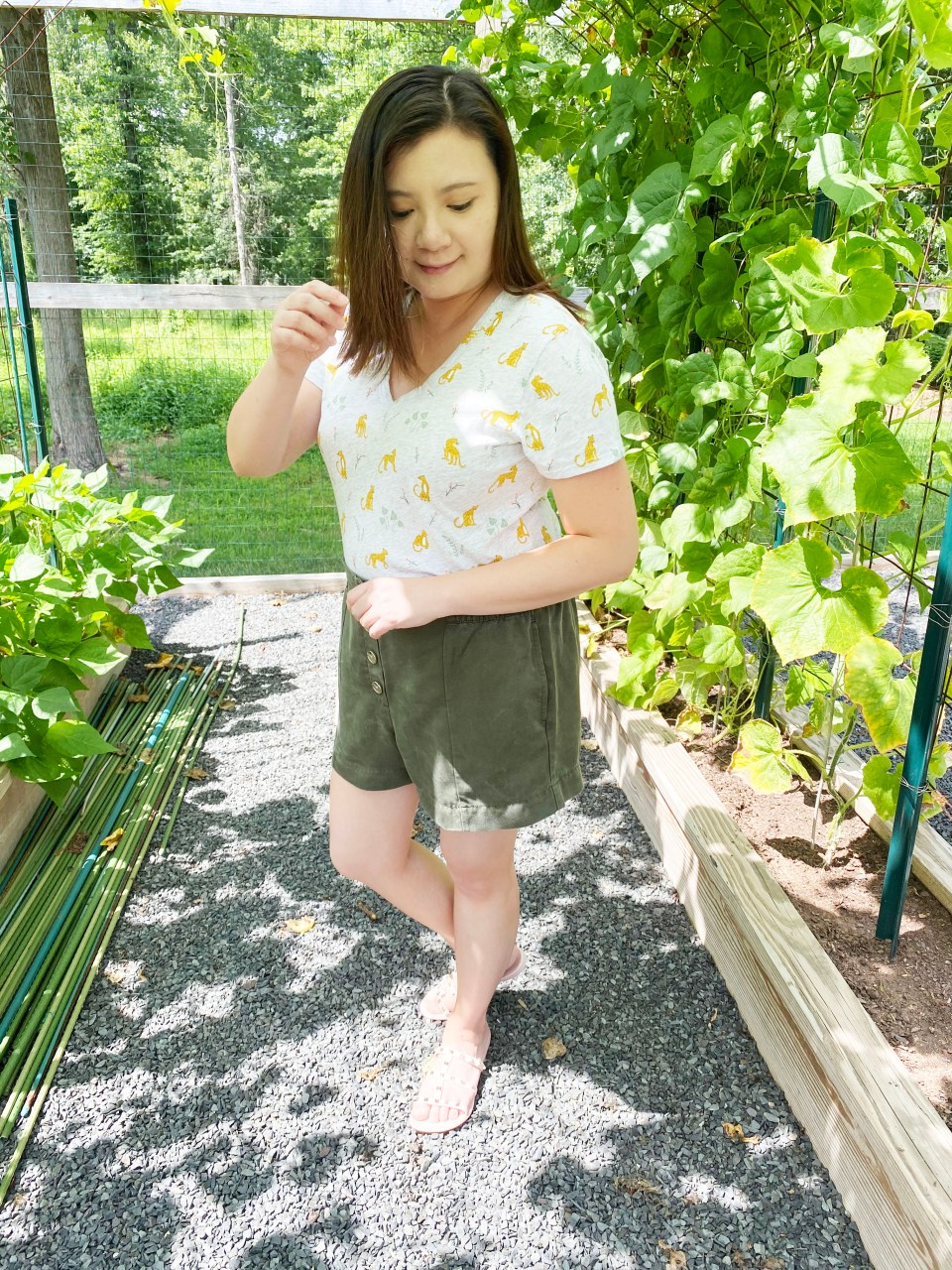 Leopard Tee + Olive Shorts 3