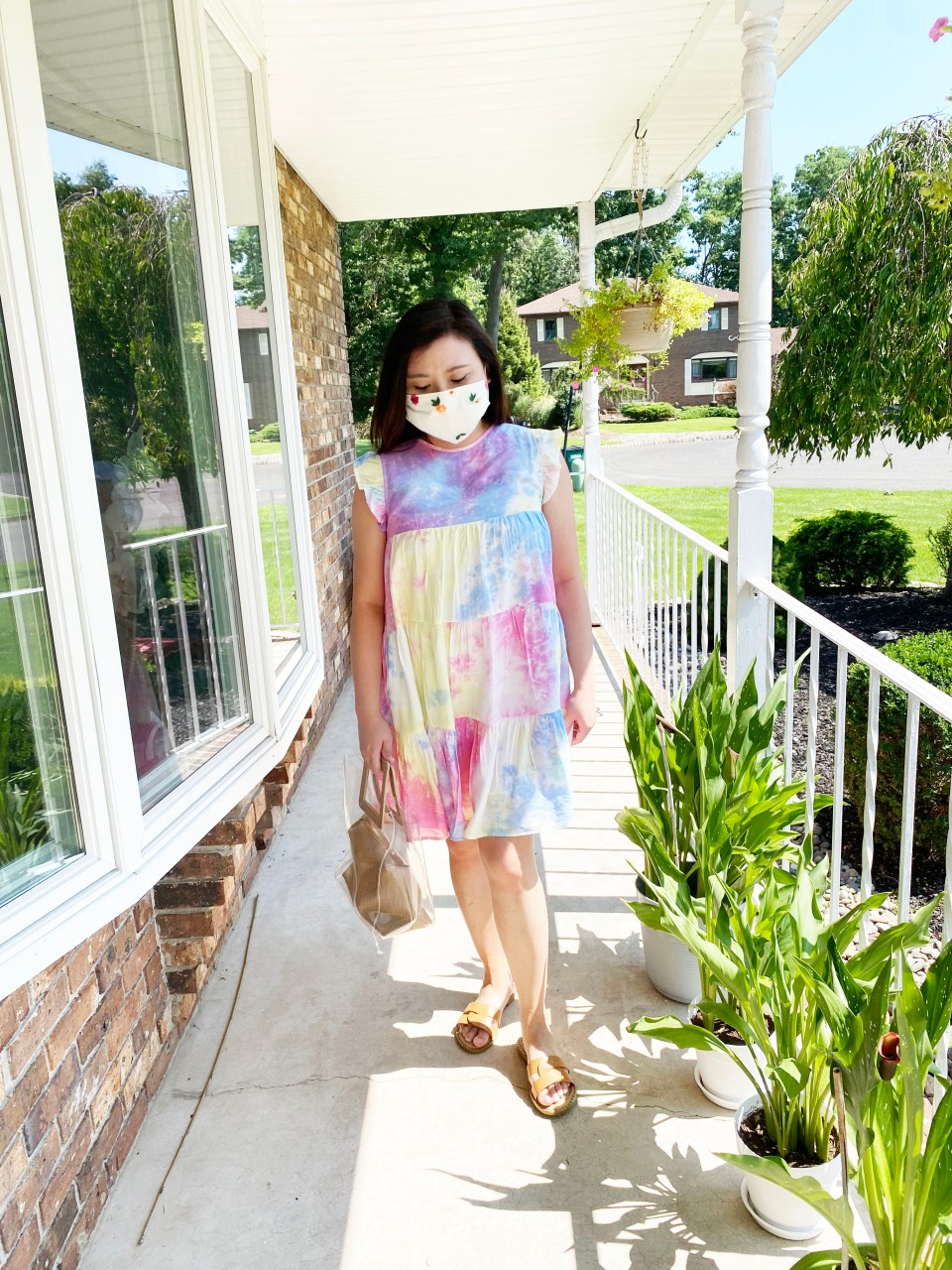 Tie Dye Babydoll Dress + Embroidered Face Mask 1