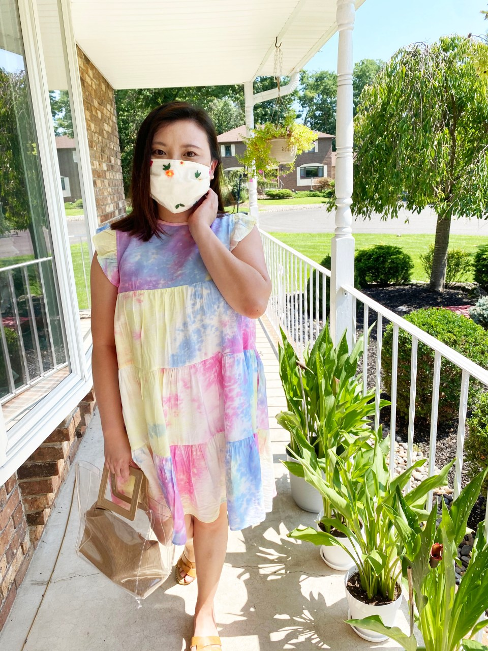 Tie Dye Babydoll Dress + Embroidered Face Mask 3