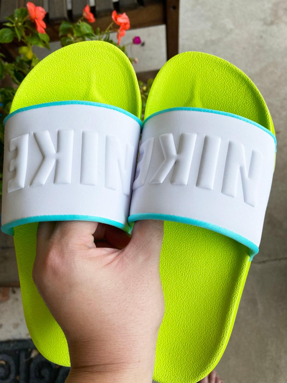 White & Neon Nike Slides 11