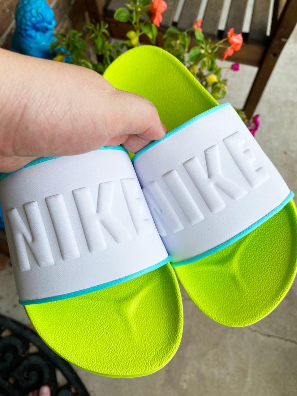 White & Neon Nike Slides 12