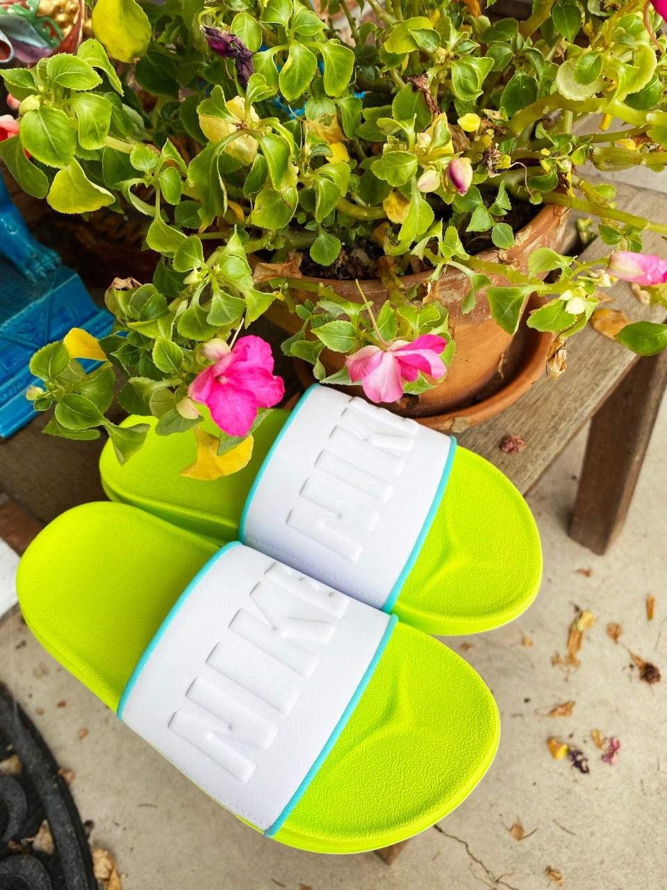 White & Neon Nike Slides 9