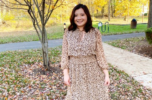 Brown-Leaf-Midi-Dress