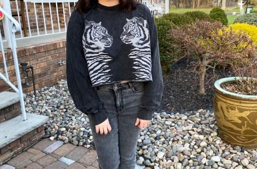 Double Tiger Crop Sweatshirt