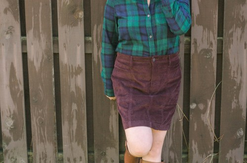 Green Plaid Flannel + Cord Skirt