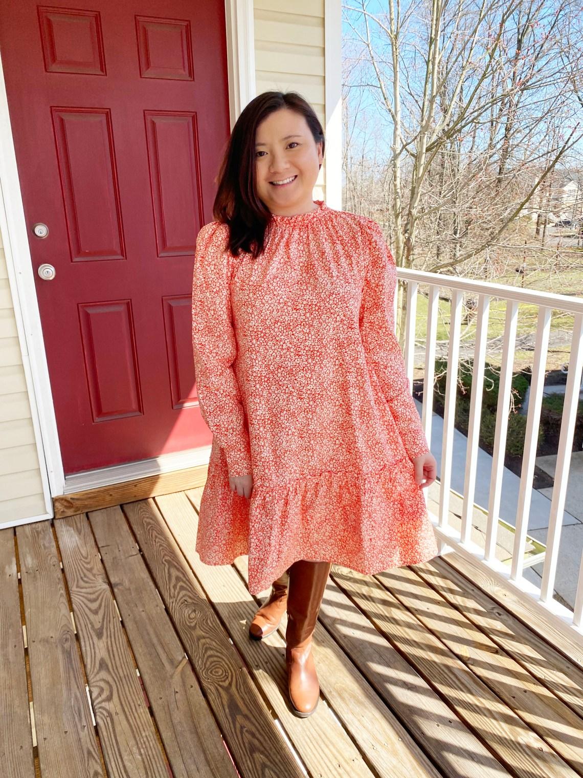Orange-Floral-Puff-Sleeve-Dress
