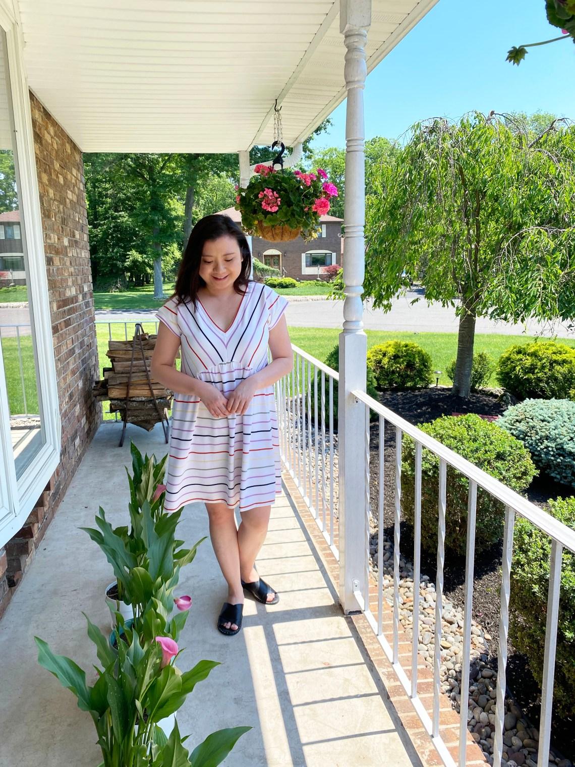 Striped-V-Neck-Swing-Dress