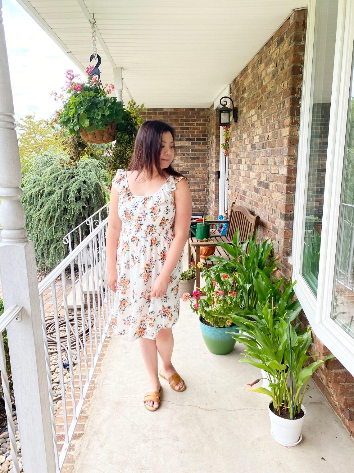 Ruffle-Neckline-Smocked-Floral-Dress