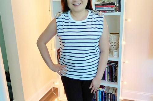 Embellished-Shoulder-Striped-Top