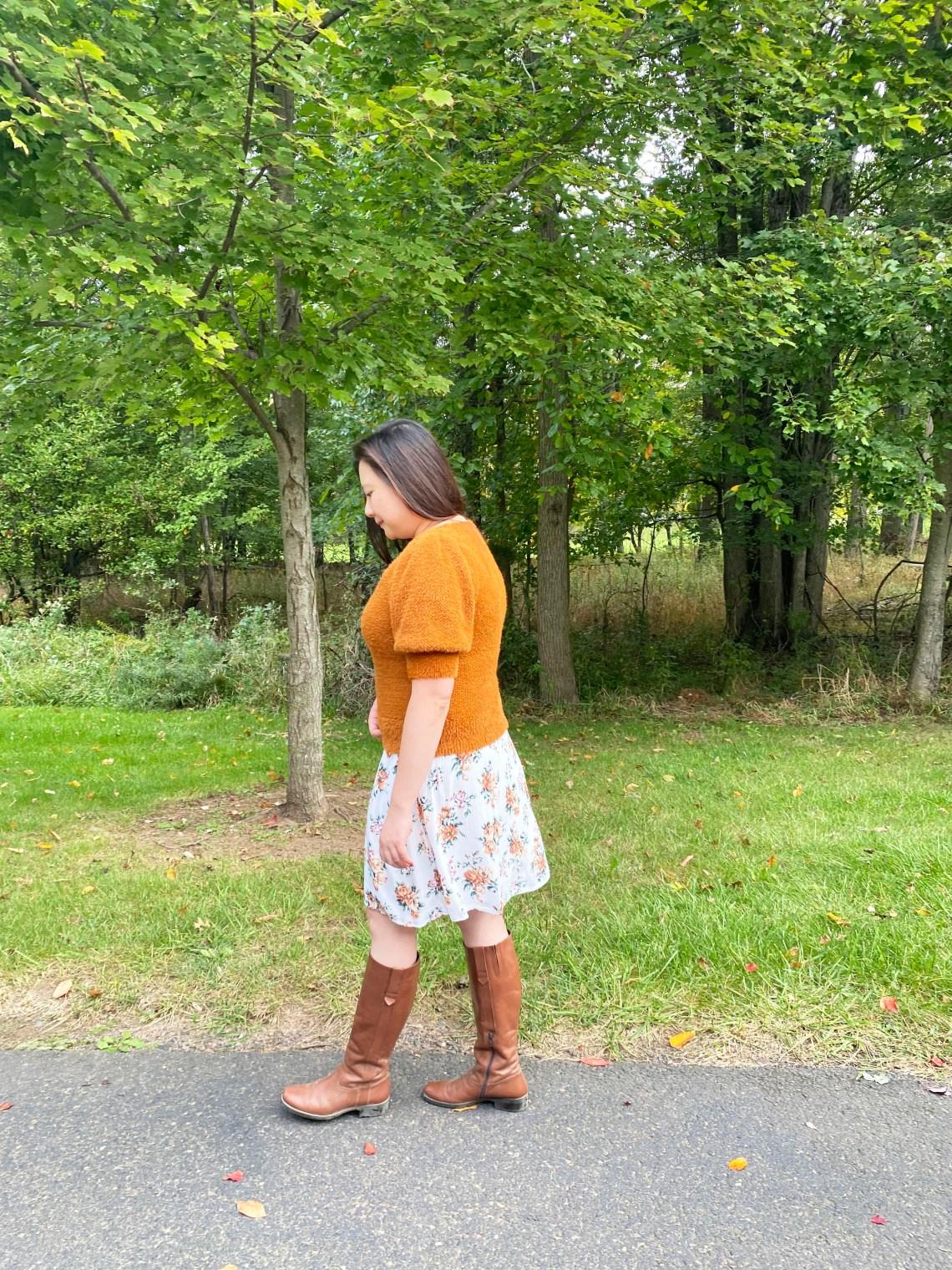 Orange-Eyelash-Sweater-Floral-Dress