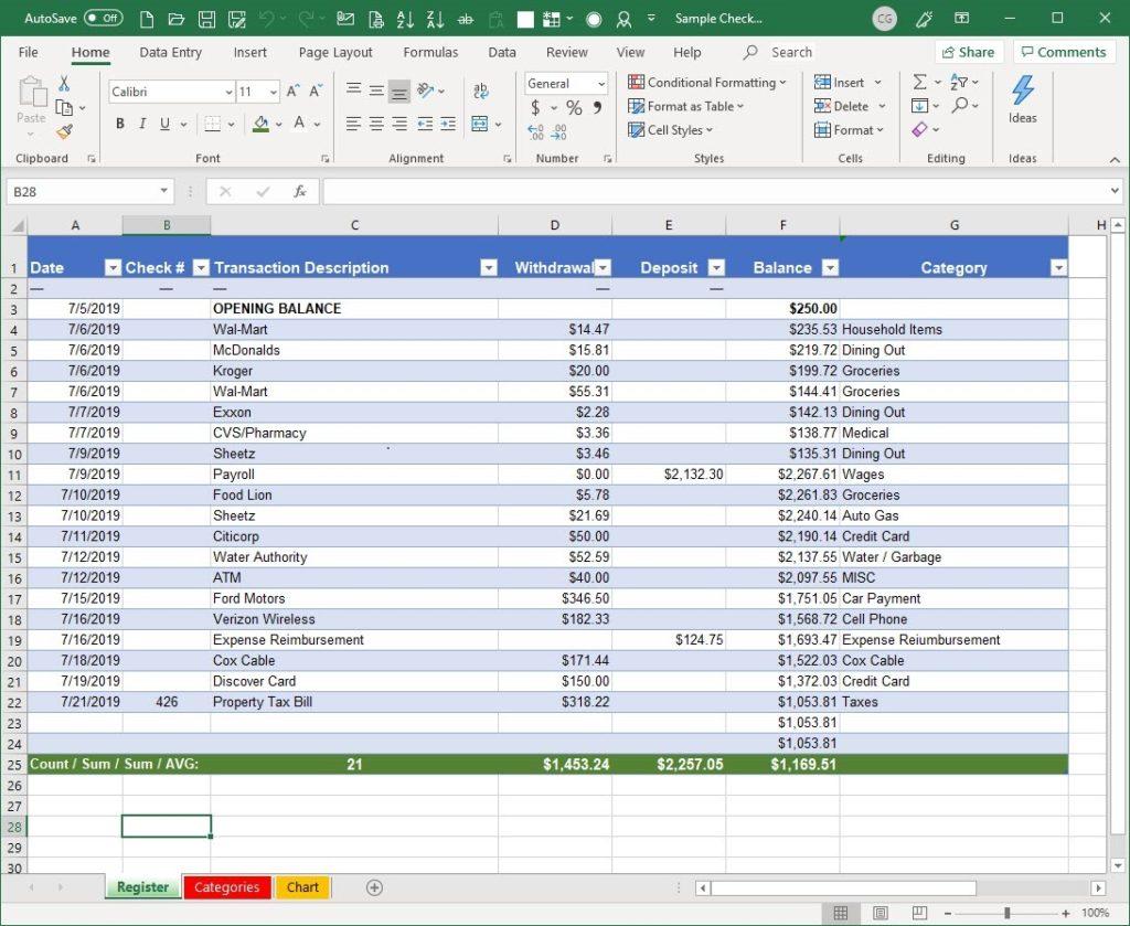 A Better Microsoft Excel Checkbook Spreadsheet