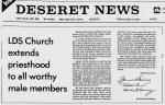 Blacks receive priesthood June-9-1978-Priesthood-Announcement