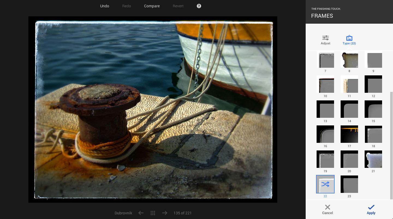 Google+ Snapseed editing tools