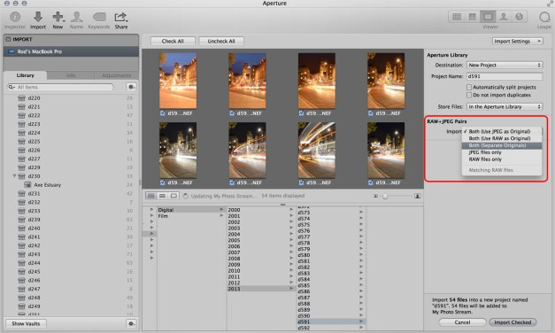 How to use Aperture RAW+JPEG pairs