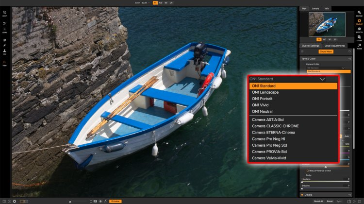 ON1 Photo RAW 2018.5 profiles and how to use them