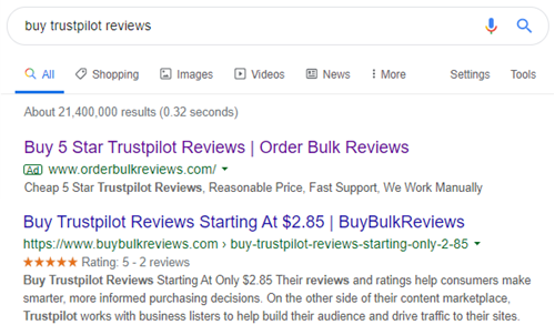 Trustpilot are the kings of fake online reviews