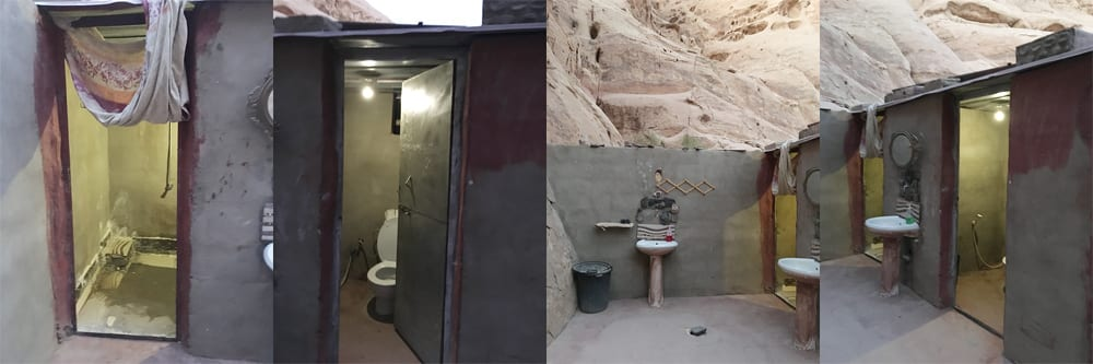 Bedouin Directions Camp in Wadi Rum - Jordan; The bathroom amenities include 3 Western-styled toilets, a shower, and 2 sinks!
