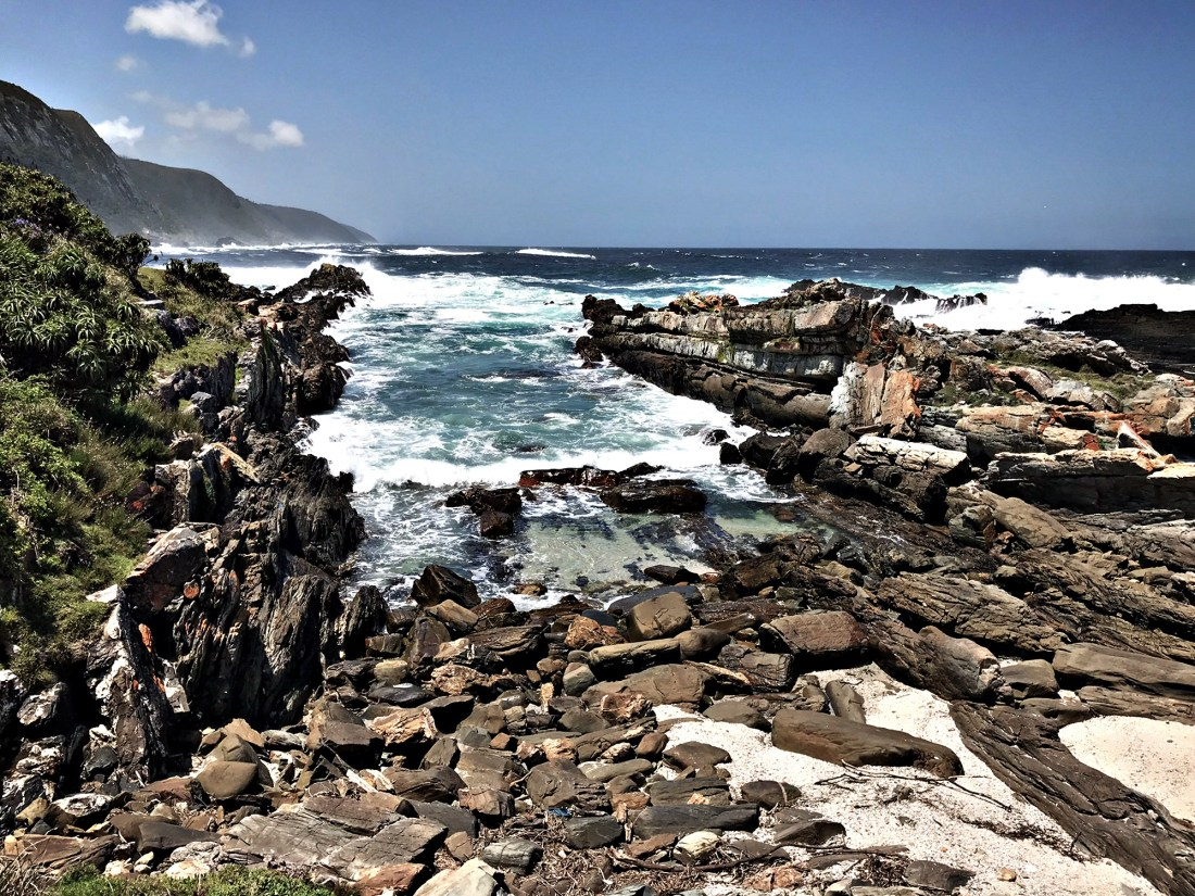 Breathtaking views of the Storms River Mouth where it meets the Indian Ocean located in the Tsitsikamma National Park that marks the last stop of the official Garden Route in South Africa