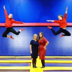 Pictured (L-R): Claire Reid, patient advocate, and Dr Ciara Kelly, GP are joined by two trampoline enthusiasts to raise awareness of pelvic floor weakness among women in Ireland. Pic: Marc O'Sullivan