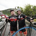 Record breaking cyclist Mark Beaumont with David Pitt of Wildfox Events. Credit ©EdSmith.