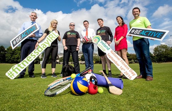 Pictured at the announcement of Ireland's first National Fitness Day which will take place on the 16th September and being led by Ireland Active and supported by Healthy Ireland and Sport Ireland are Minister of State for Tourism and Sport, Patrick O'Donovan TD and Anna Geary All Star Camogie player. National Fitness Day is a celebration of the role physical activity plays in Ireland, the positive impact fitness has on people's lives and will showcase the many different ways available nationwide to partake in physical activity. Ireland Active is the national association for active leisure and fitness and represent over 200 leisure centres, gyms, swimming pools, education providers and outdoor recreation facilities on the island of Ireland. Pictured today (L-R) Cormac MacDonnell (Sport Ireland), Ronan Toomey (Healthy Ireland), Anna Geary (All Star Camogie Player), Nadine Lattimore (former Paralympic athlete), Minister of State for Tourism and Sport, Patrick O'Donovan TD, Conn McCluskey (CEO Ireland Active) and Cloadagh Kilmurray (Ireland Active). Photo ©INPHO/James Crombie
