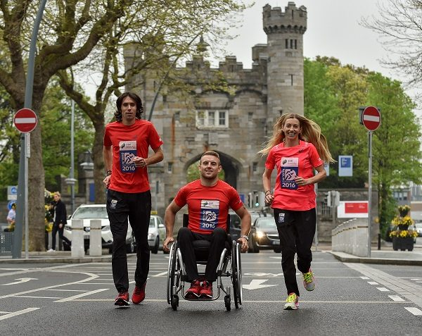 10 May 2016; Olympic Marathon qualifiers Lizzie Lee and Mick Clohisey alongside Paralympic qualifier and 2015 wheelchair race winner, Patrick Monahan, launched the 2016 SSE Airtricity Dublin Marathon and Race Series with a tribute to the Ireland 2016 Centenary today at Kilmainham Gaol.  Picture credit: Paul Mohan / SPORTSFILE