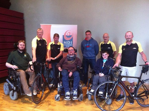 """Pictured at the launch of Over The Hill's Cycling Club's """"Race Around Ireland for MDI"""" fundraiser are:  Tommy O'Donnell, Munster Rugby & Ireland Declan Brady, Pat O'Callaghan, Sean O'Flynn & Darren Revins, Over The Hill Cycling Club, Race Around Ireland Team Joe Barry & Caleb Lane, MDI Members Patrick Flanagan, MDI PR Coordinator"""