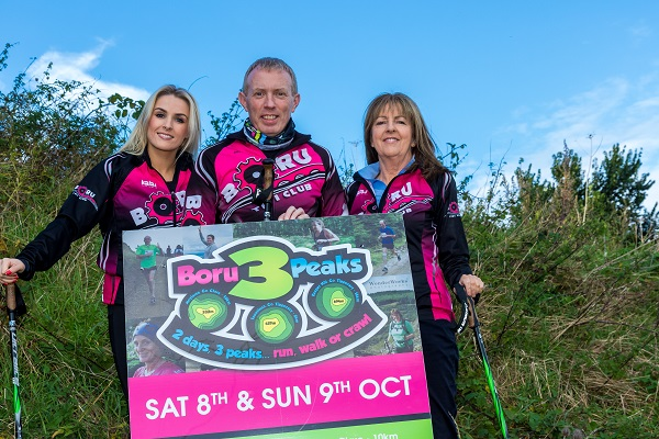 Boru 3 Peaks 1 of 5: Event ambassador Sarah Hennessey of Her.ie with Timmy Dooley, Clare TD, and Evelyn Cusack of RTE at the launch of the Boru 3 Peaks 2016 charity walk and run. Credit: John Coveney Photography.
