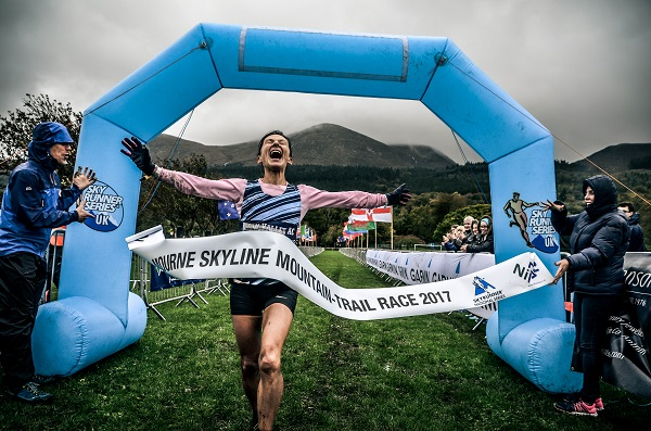 Shileen O'Kane, Lagan Valley AC crosses the finish line at the year's Garmin Mourne Skyline MTR 2017 Race in Donard Park, Newcastle.