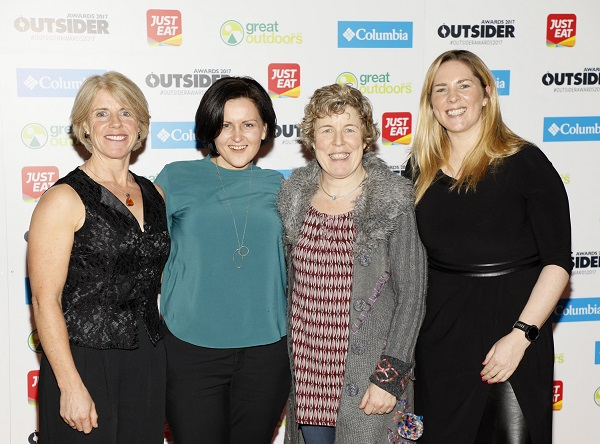 Marie Boyle, Brid NiNeachtain, Karen Cassidy and Joanne Murphy at the Outsider Magazine awards which recognise people who have done extraordinary things on the outdoor adventure scene.photo Kieran Harnett The awards are supported by Just Eat, Columbia Sportswear and Great Outdoors. They took place at the Sugar Club on Leeson St. for further info contact;Roisin Finlay @ roisin@outsider.ie
