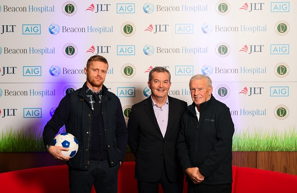 Irish football legends Damien Duff and John Giles along with Dr Alan Byrne, Consultant in Sports and Exercise Medicine at Beacon Hospital, joined Beacon Hospital to launch its new sports medicine initiative with the Leinster Senior Football League, at the National Sports Campus in Abbotstown, Dublin.  Photo by Stephen McCarthy/Sportsfile