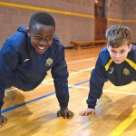 Miracle Odigie and Michael McMahon Hardesty during the Fyffes FitSquad visit to the De la Salle