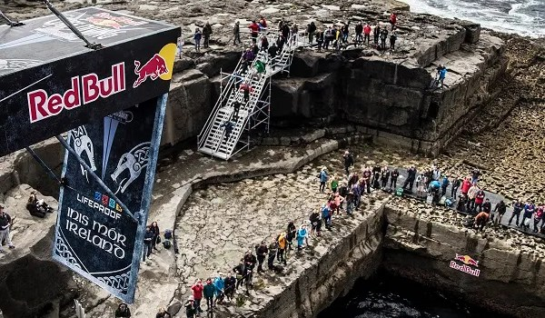 Ginger Leigh Huber of the USA at the 2017 Red Bull Cliff Diving World Series at the Serpent`s Lair, Inis Mor