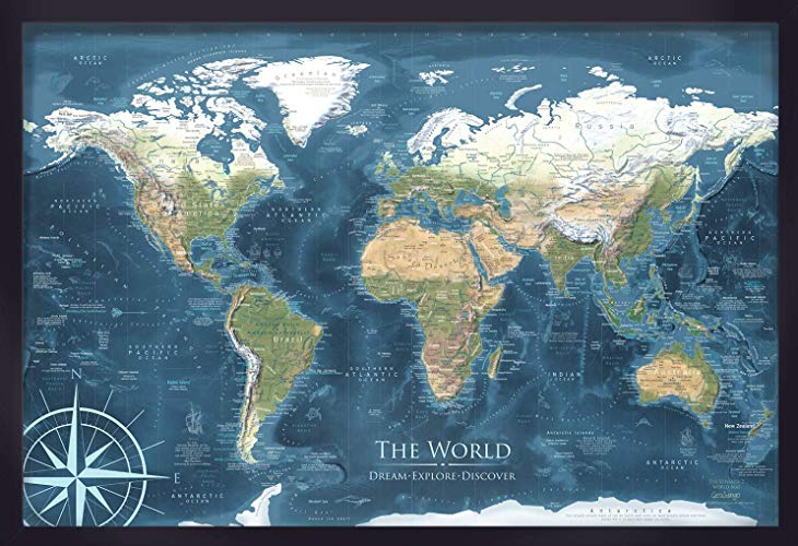 Classic pushpin world map