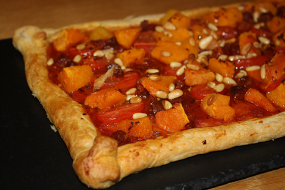 Chilli, butternut and chorizo slice feature