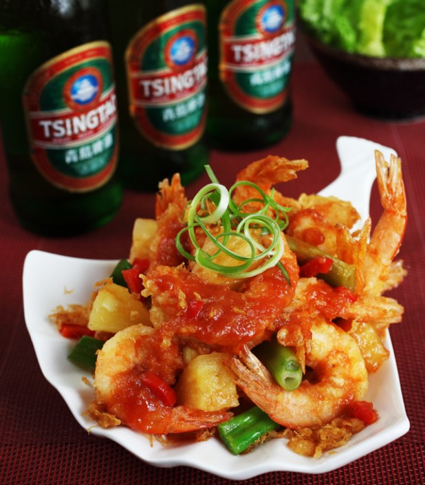 Tsingtao beer battered prawns rs