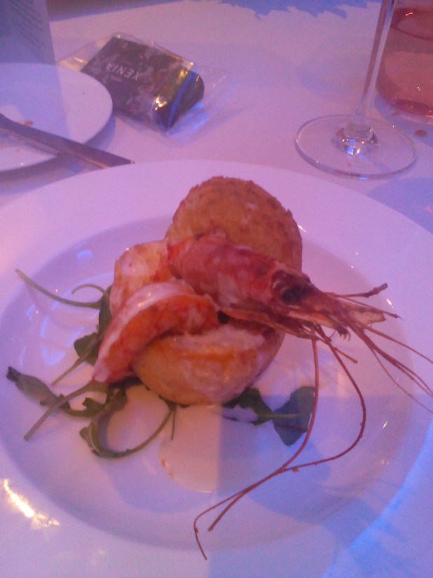 Evoluzione Restaurant London Cheese bread with royal prawn, rocket and pecorino