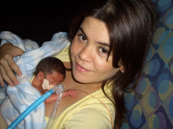 Rocio and Diego, bonding not long after his premature birth.