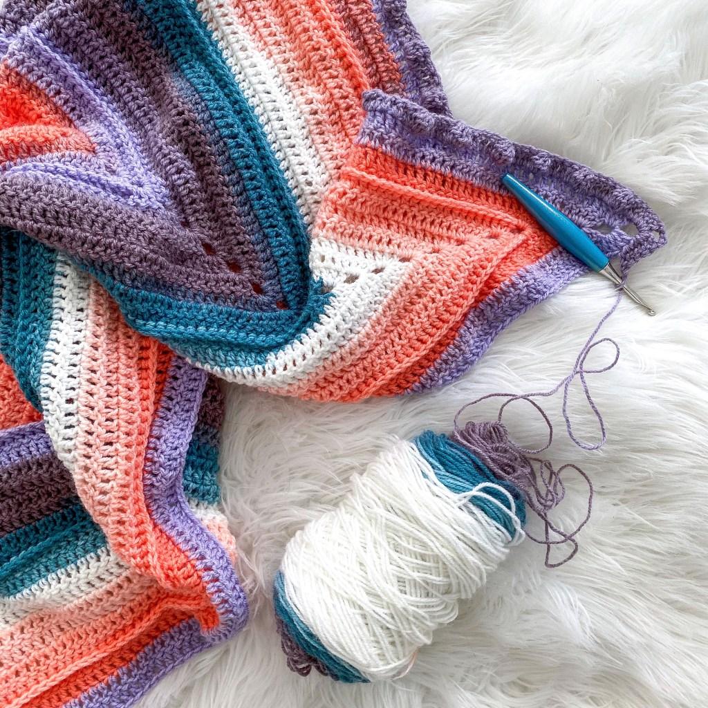Simple crochet stitches and bobbles using mandala yarn.