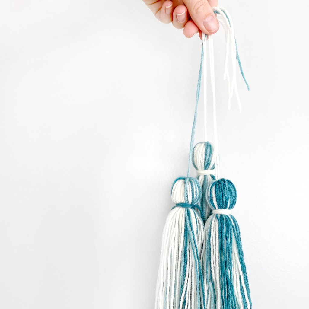 Tassels for a crochet triangle scarf.