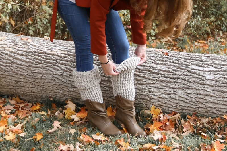 Wear these crochet leg warmers up or rolled down in a cuff.