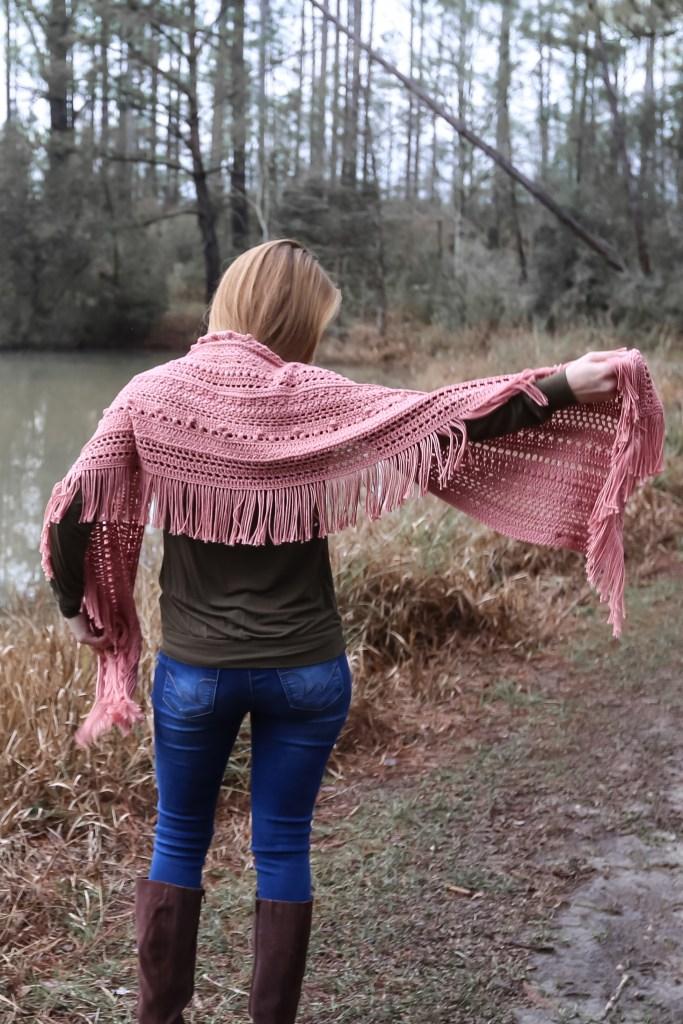 Textured fringe shawl