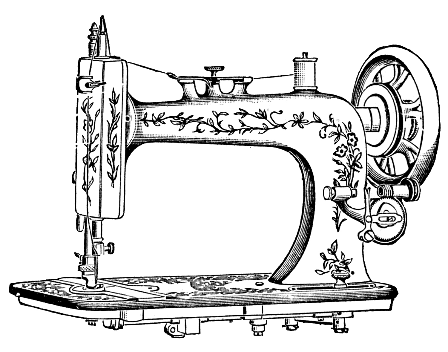 Antique Sewing Machine Clip Art Sketch Coloring Page
